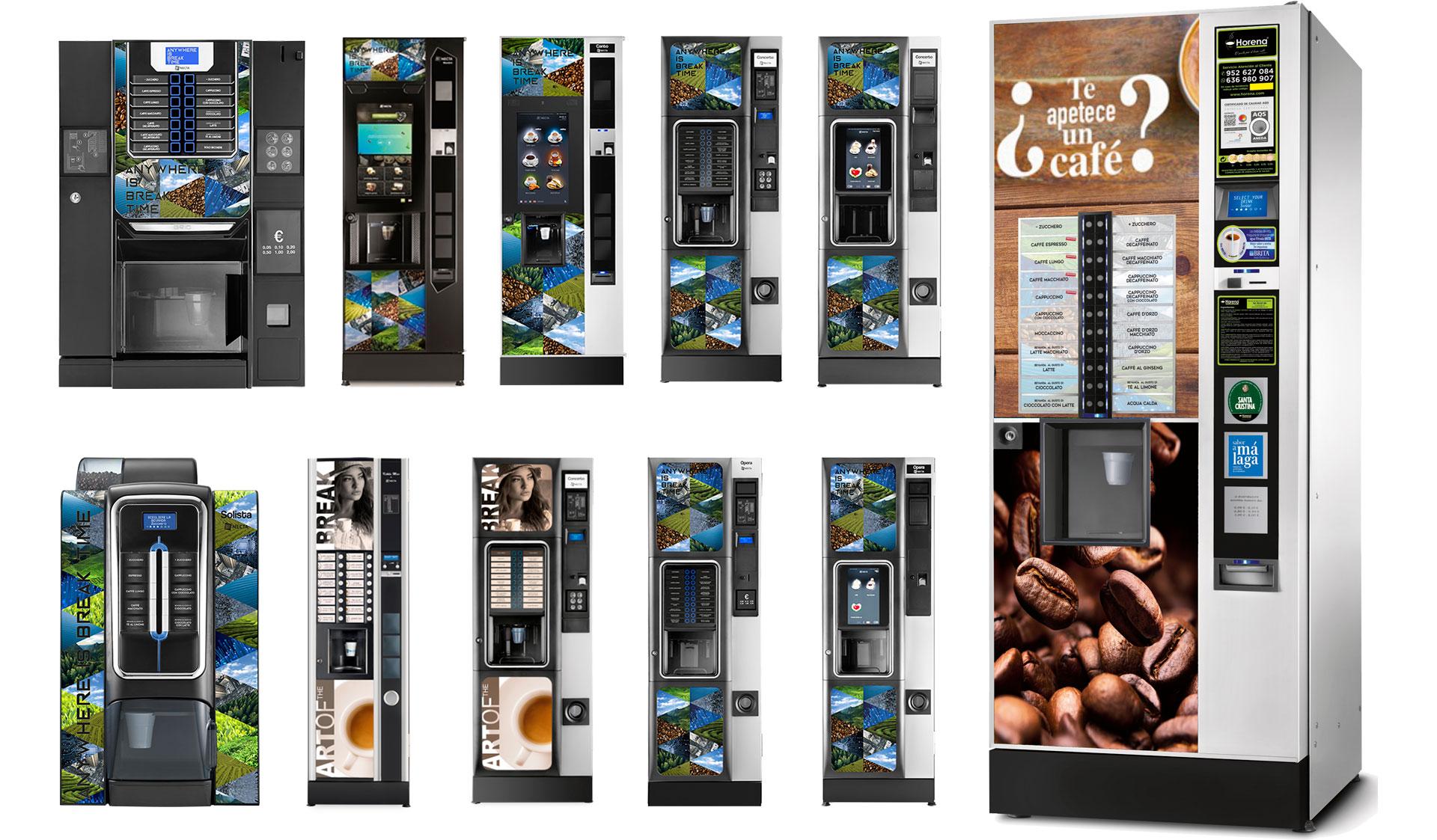 Diferentes máquinas expendedoras de café
